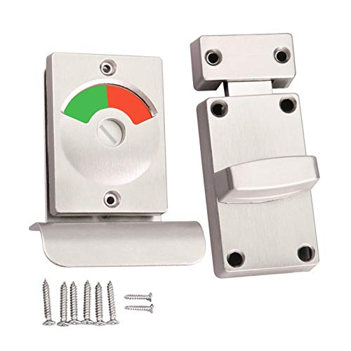 Door Lock Indicator, Stainless Steel Bathroom Toilet Lock Vacant/Engaged, DeadBolt Privacy Partition Latch Indicating Lock for Bathroom WC Public Restroom Toilet