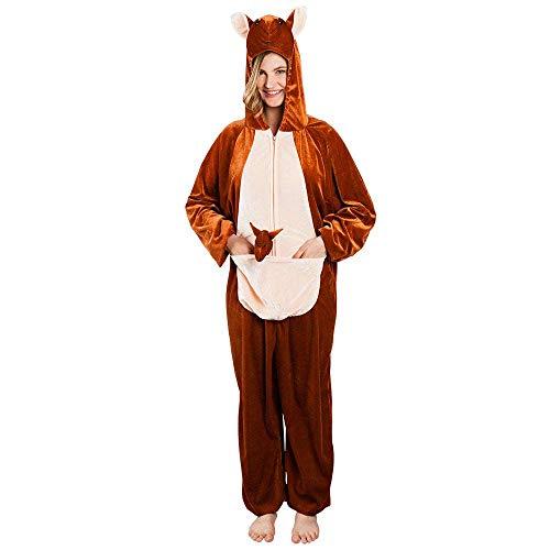 Boland 88024 - Erwachsenenkostüm Känguru Plüsch, ca. 180 cm, Kapuzen-Overall, Tiermotiv, Reisverschluss vorne,Taschen, Safari, Outback, Karneval, Fasching, Mottoparty, Verkleidung, Theater