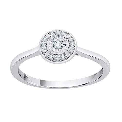 KATARINA Miracolo Diamond Plate Halo Anello di Fidanzamento in Argento sterlina (1/10 Cttw, G-H, Vs2-Si1) (Size-7)