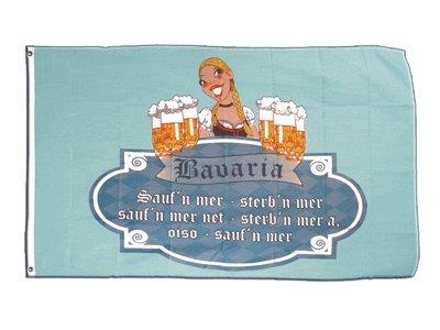 Fahne / Flagge Bavaria Bayrischer Trinkspruch + gratis Sticker, Flaggenfritze®