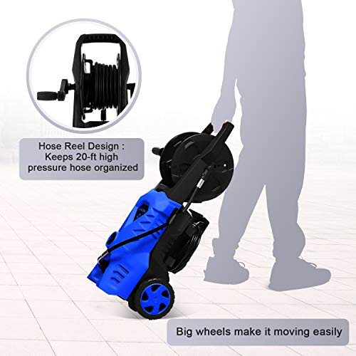 WHOLESUN 3000PSI Electric Pressure Washer 2.4GPM 1600W Power Washer with Hose Reel and Brush Blue