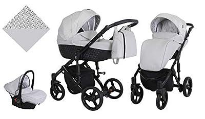 Kunert cochecito de bebé TIARO silla de paseo silla de coche asiento de bebé juego completo 3 en 1 (Gris, Color del marco: Negro, 3en1)