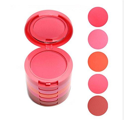 Blush Palette 5 Colori MakeUp Blush in Polvere - Palette Viso Blush Professionali Cosmetici Trucco Tavolozza Blush,Palette con Fard Blush in Polvere a Lunga Durata