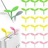 18 Pieces Little Sprout Bookmarks Silicone Buds Bookmark Mini Sprouting Leaf Book Marker Cute Book Decorations, Green, Yellow, Pink