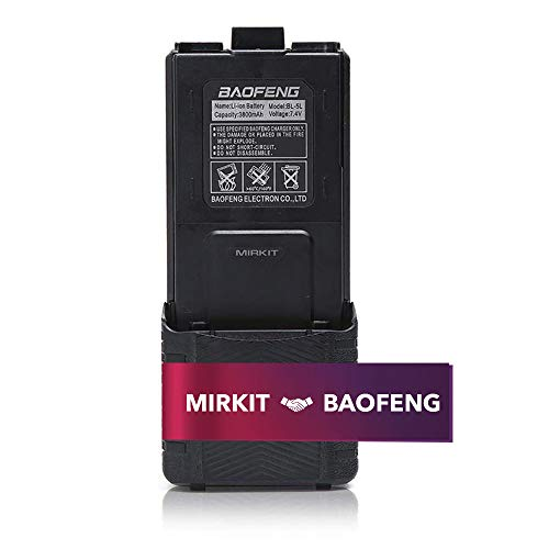 Baofeng BL-5 3800mAh Extended Battery Compatible with UV-5R BF-8HP UV-5RX3 RD-5R UV-5RTP UV-5R+, UV-5X3 Walkie Talkies, Rechargeable Baofeng Accessories Extended Batteries by Mirkit Radio USA