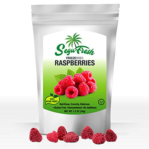 Segufresh Freeze Dried Raspberries (2 Pack) 100% Natural Food Product | Nutritious And Delicious Crunchy|Gluten-Free & Vegan Unsweetened Fruit, No Additives, Healthiest Snacks Pack Ever In Resealable