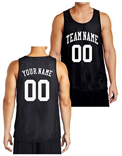 Custom Reversible Basketball Jersey - Front and Back (Adult Medium, Black)