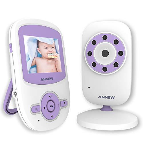 ANNEW Babyphone Bébé Moniteur Vidéo Caméra Bébé Surveillance 2.4 GHz Audio Bidirectionnelle VOX Vision Nocturne Berceuses Capteur de Température Extensible à 4 caméras
