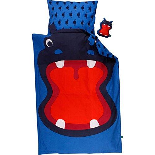 Green Cotton Parure de lit bébé 40 x 60 100 x 135 cm Hippo Hippopotame dans bleu