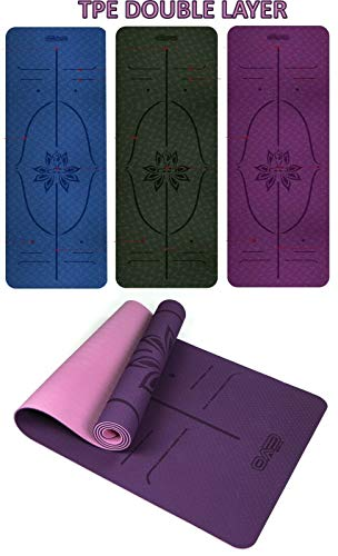 EVO Fitness Yoga Mat Multi/Double Layer Digital Printed Guide Lines TPE 6mm Eco Friendly...