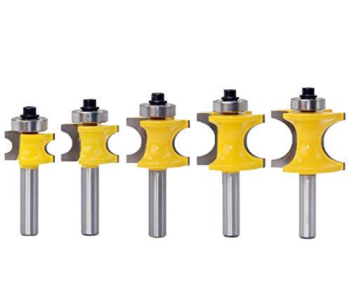 Meccion Radienfräser-Set, 8 mm Schaft, Hartmetall-bestückt, professionelle Holzbearbeitungswerkzeuge, 5 Stück