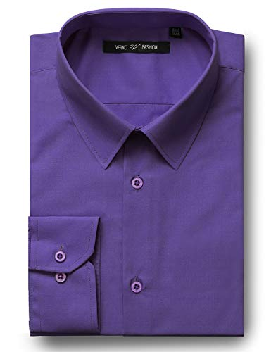 Verno Fashion Men's Classic Fit Solid Dress Shirt Long Sleeve Spread-Collar Business Shirts (Purple, 17-17 1/2-36/37)