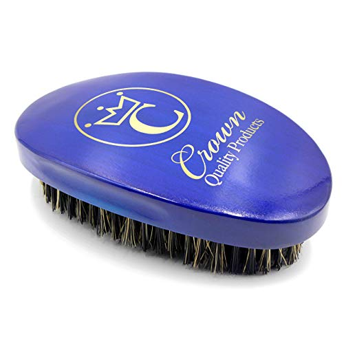 "Crown Quality Products Royal Blue Medium Bristle Contour Wave Brush - ""THE ORIGINAL"" Curved Wave Brush - 360 Waves in Days"