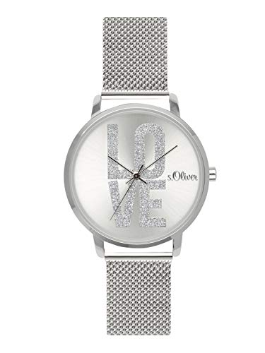 s.Oliver Time Damen Analog Quarz Uhr mit Edelstahl Armband SO-3579-MQ