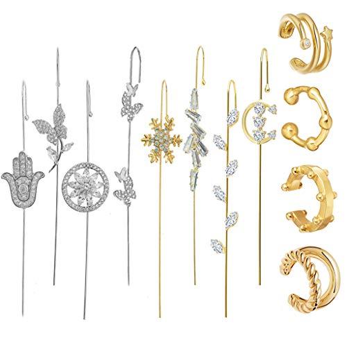 Juego de pendientes de tuerca, 1 juego de aretes de gancho para mujer con diseño de orugas doradas, pendientes de oreja, pendientes de trepador de oreja, pendientes de cartílago, Cobre,