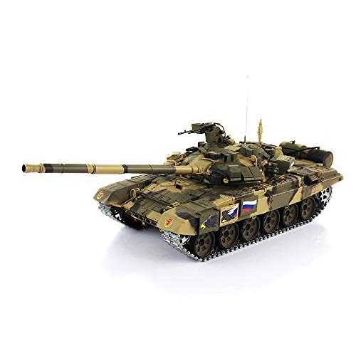 1/16 Scale Remote Control RC Tank, 2.4G Henglong 1/16 Scale 6.0 Generation Upgraded Metal Ver Russia T90 RTR RC Tank 3938