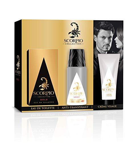 Scorpio Collection Gold - Cofanetto per uomo con profumo: eau de toilette 75ml + deodorante spray 150ml + crema gel per viso 50ml
