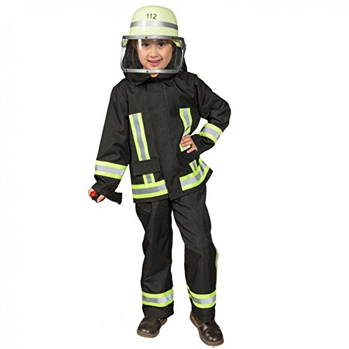 Kostüm Feuerwehr Junge Uniform Feuerwehrmann Anzug Fasching (116, Schwarz)