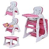 Seggiolone trasformabile 3 in 1, scrivania regolabile e set sedia per bambini con vassoio rimovibile a 3 posizioni e cintura di sicurezza a 5 punti-rossa
