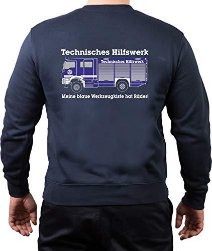 FEUER1 sweatshirt Navy THW Mijn blauwe gereedschapskist heeft wielen!