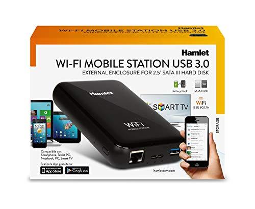 Hamlet HXD25Wifi Mobile WiFi-Station HDD, 2,5 Zoll–Storage Drive (Serial ATA I, Serial ATA II, Serial ATA III, 7,9.5mm, 3.0(3.1Gen 1), USB Type-A, USB Type-C, Female)