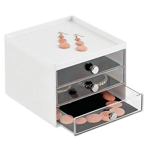 MDESIGN Schmuck Organizer – Aufbewahrungsbox aus transparentem Kunststoff mit DREI Schubladen – Schmuckaufbewahrung für Kommode oder Waschtisch – weiß/durchsichtig