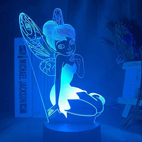 giyiohok 3D Illusionslampe LED Nachtlicht Tinkerbell Figur für Home Decoration Farbwechsel Tischlampe Prinzessin Fairy Bell Geschenke Kinderschlaflampe