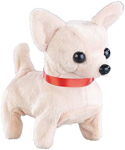 Playtastic Spielzeug Hund wie Echt: Niedlicher Plüsch-Chihuahua, läuft und bellt, batteriebetrieben (Spielzeug Hund der läuft und bellt)