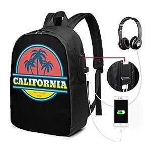 413FlMKSM4L. SS300  - Mochila unisex con puerto de carga USB California Santa Mónica Beach Classic Fashion General Business Bookbag