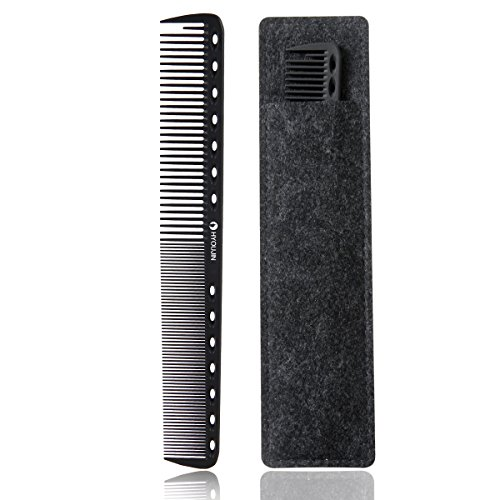 HYOUJIN 605 Black Carbon Fine Cutting Comb 230℃ Heat Resistant Hairdressing Comb Master Barber Comb with fine tooth-14 holes for cutting and hairstyling