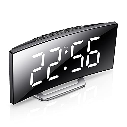 Digital Alarm Clock with Large Display, Crescendo Loud Alarm, Auto Dimmer Mode, Easy Snooze Function, Digital Clock with Temperature, Date, 12/24hr,Small Digital Alarm Clock for Bedroom