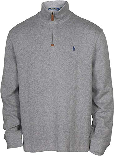 POLO RALPH LAUREN Men's Half Zip French Rib Pony Logo Cotton Pullover Sweater, Grey Heather (XL)