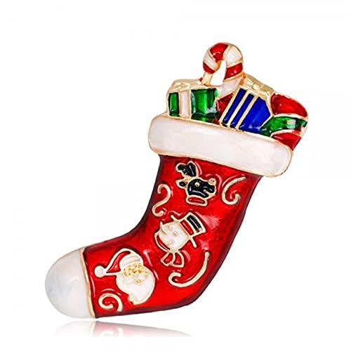 Navidad esmalte muñeco de nieve medias Santa árbol broche Pin mujeres hombres encanto cristal Rhinestone caliente joyería