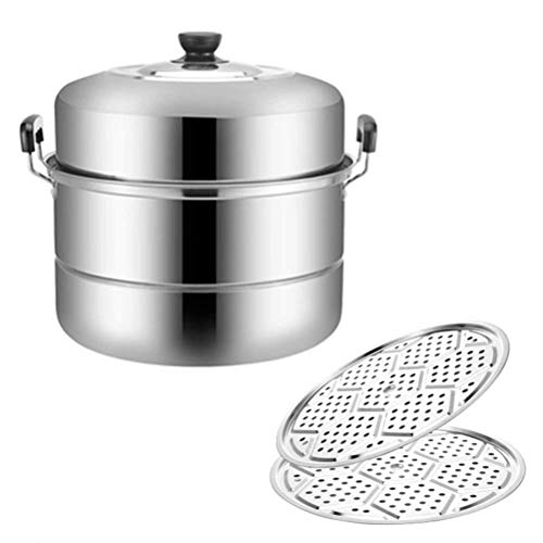 Dampfgarer 30 cm 2-lagiger Edelstahl Gemüse und Fleisch Huhn Lamm Rindfleisch Dampfgarer Dampf Fixed Chassis Vent Cover