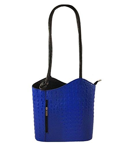 Freyday 2 in 1 Handtasche Rucksack Henkeltasche aus Echtleder in versch. Designs (Kroko Blau-Schwarz)