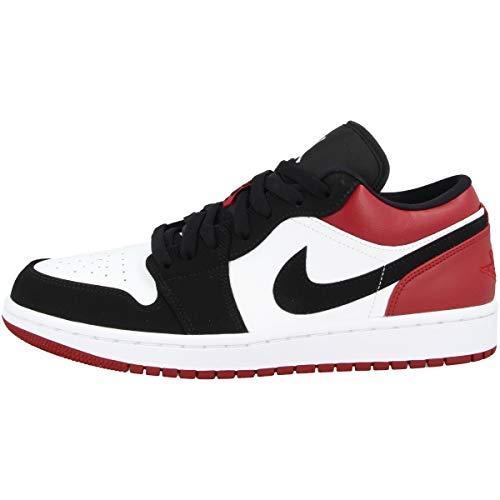 Nike Herren Air Jordan 1 Low Basketballschuhe, Weiß (White/Black/Gym Red 116), 47 1/2 EU