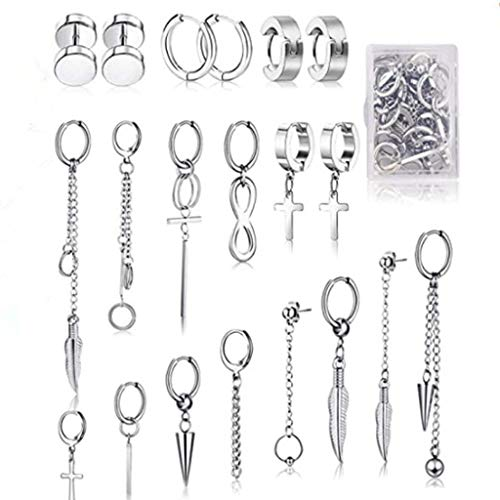 Pendientes de cruz de acero inoxidable de 20 piezas Pendientes de aro colgantes cruzados Joyería de oreja de aro con bisagras para hombres y mujeres