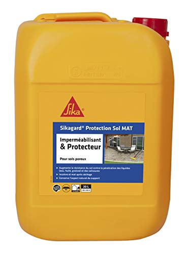 Sikagard Protection Sol MAT, Hydrofuge, Imperméabilisant effet mat pour sols (Pavés, dalles, pierres), 20L, Incolore