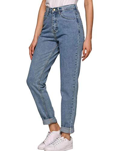 ORANDESIGNE Damen Jeans Boyfriend Hoher Bund Jeanshose Locker Lang Boyfriend Jeans Blau Hose Jeans Straight Lässig Weich B Hellblau S