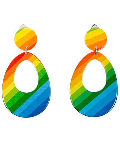 Smiffys Damen Neon Tränen Ohrringe, One Size, Mehrfarbig, 21175