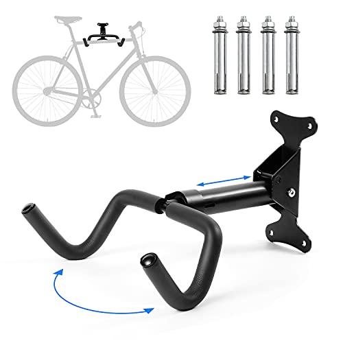 Soporte para Bicicletas Pared, Colgador Bicicleta Pared, Protección de Cuadro Extrafuerte, Ángulo y Distancia de Pared Ajustable, Plegable, Ahorra Espacio, para MTB, Bicicleta de Carreras etc