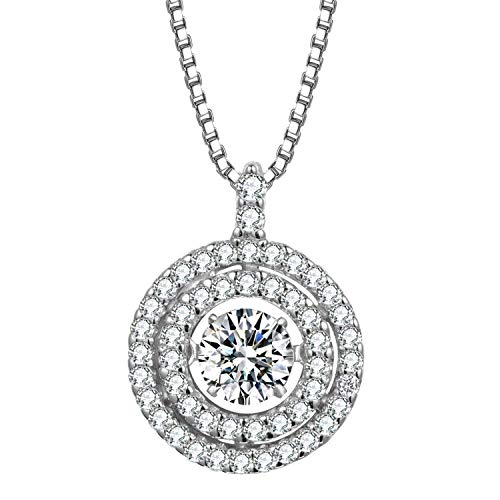 T400 Jewelers Forever Love 925 Sterling Zilver Dansende Steen Ronde Hanger Ketting Gemaakt met Zirkonia van Swarovski Love Gift for Women Girls, 18