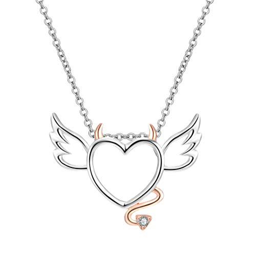 Holibanna Teufel Herz Anhänger Halskette Engel Diamant Anhänger Schlüsselbein Kette Halskette für Mädchen Frauen