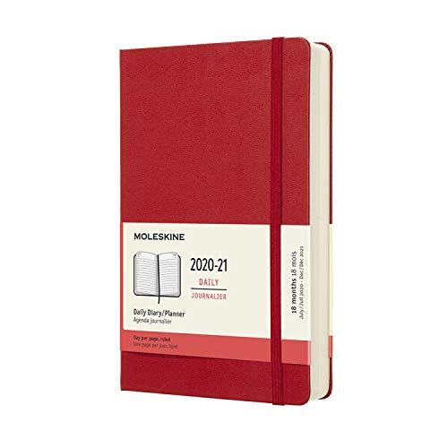 Moleskine - Agenda 2020/2021 un Día por Página, Agenda de 18 Meses, Planificador Diario con Tapa Dura y Cierre Elástico, Tamaño Grande 13 x 21 cm, Color Rojo Escarlata, 608 Páginas