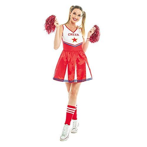 Partilandia Disfraz Animadora MujerTallas Adulto S a L[Talla M]Uniforme Cheerleader Rojo Disfraces Mujer Carnaval Despedidas