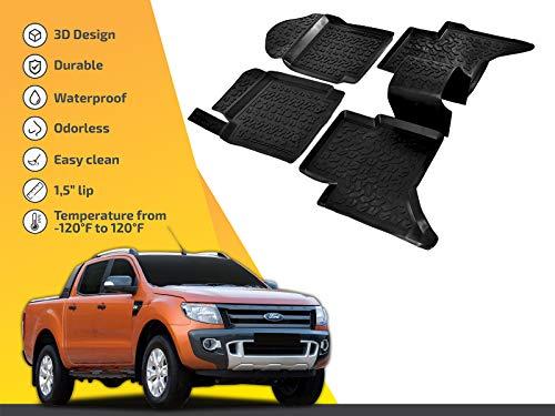 SCOUTT | 3D Tapis DE Sol en Caoutchouc Premium Compatible avec Ranger T6 T7 2012-prés