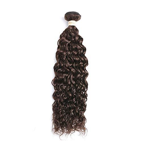 Ugeat Natural Wave Haartressen Echthaar zum Einnahen Dunkelstes Braun #2 60cm Weave on Human Hair Extensions Weft Remi 100G