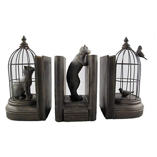 3-teiliges Buchstützen-Set Katzen und Vögel