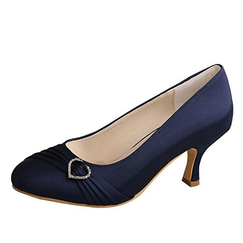 Wedopus MW835 Women Pumps Closed Toe Heels Rhinestone Prom Spool Heels Satin Wedding Party Shoes Size 8 Navy
