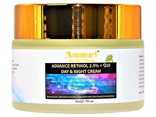 Q10 + Advance Retinol 2.5% Crema de día y noche con ácido hialurónico, aloe vera, vitamina B5 y vitamina E para antienvejecimiento y antiarrugas